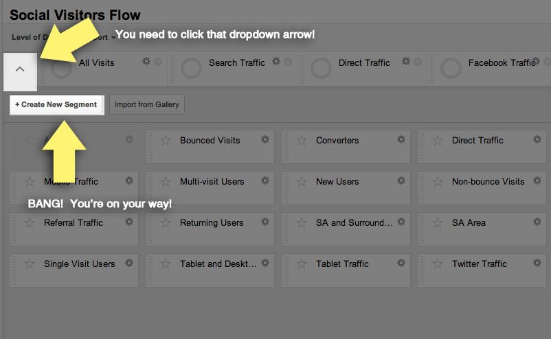 Creating a new custom segment in google analytics